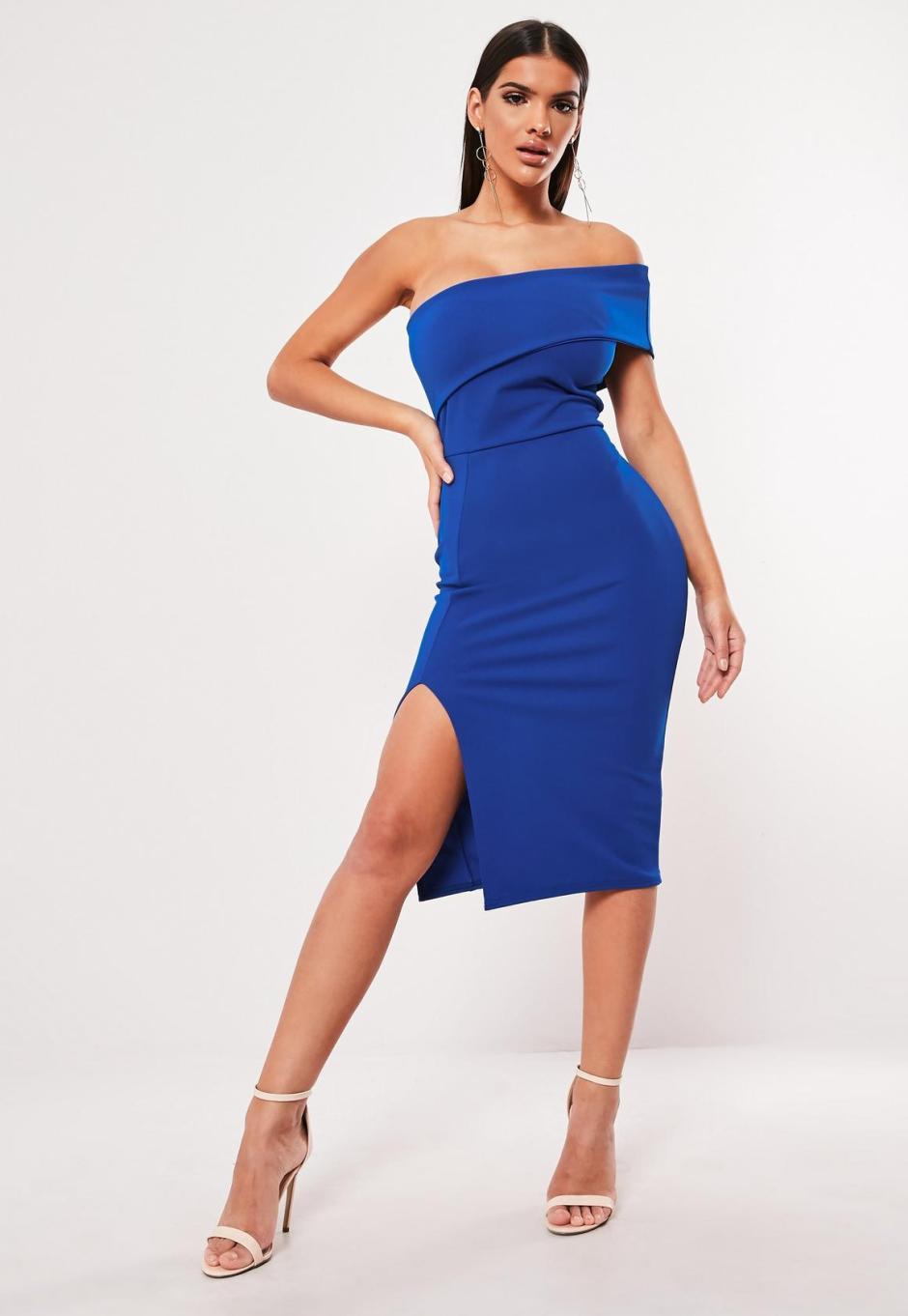 blue-one-shoulder-midi-dress